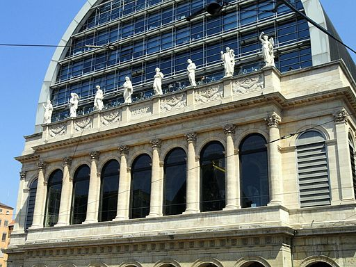 Colour photograph showing part of the facade of the Nouvel Opera House, which is home to Opera National de Lyon
