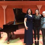Colour photograph showing the winning pair (singer and accompanist) of the RCS Elgar/Spedding Memorial Lieder Prize in 2017 together with the sponsor of a scholarship for student accompanists