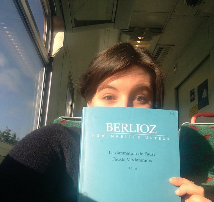 Colour photograph of Beth Margaret Taylor, mezzo-soprano in train en route to performing at the Edinburgh International Festival 2017