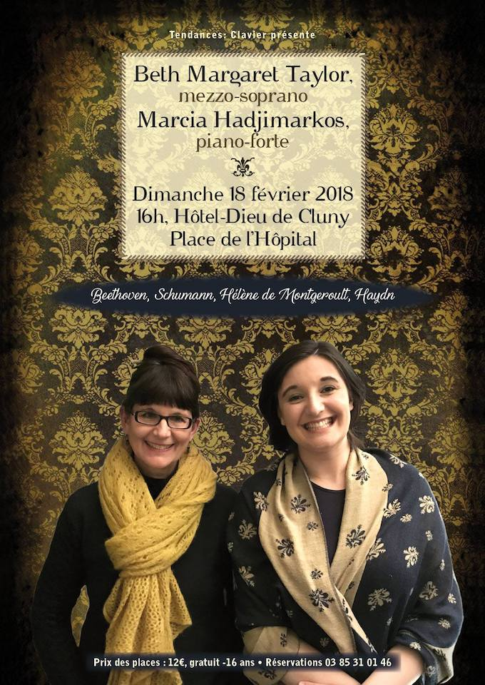 Colour poster announcing a recital of works by Beethoven, Schumann, Montgeroult and Hadyn together with the wonderful Marcia Hadjimarkos at Hotel-Dieu in Cluny in February 2018