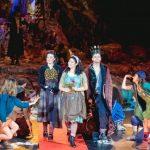 Colour photograph showing a scene on stage from the 2018 Opéra de Lyon production of Resphigi's La Belle au Bois Dormant