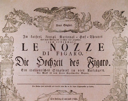 An original poster for Mozart's opera, The Marriage of Figaro, 1786 (Provided by Gilbertus/Public Domain/via Wikimedia Commons)