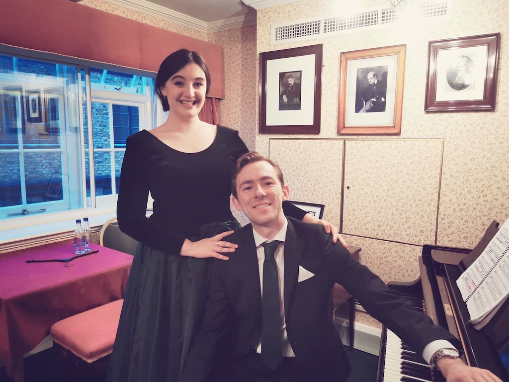 Colour photograph showing Beth Taylor, mezzo-soprano with Hamish Brown at the semi-final of the Wigmore Hall Song Competition 2019 (photo credit: Helmut Fischer)