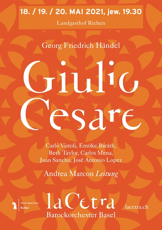 Poster for the La Cetra production of Handel's Giulio Cesare, Basel and Madrid, May 2021